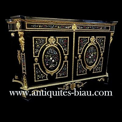 Impressive cabinet with Pietra Dura marquetry Boulle 19th Napoléon III