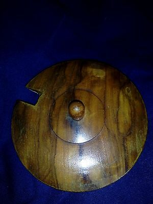 Treen wooden round Lidded Container with spoon.