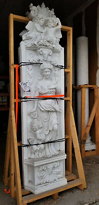 Pair of MIRRORED CARVED FLAT MARBLE COLUMNS APPROXIMATELY 8' TALL