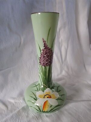Pale green opaque glass vase with hand painting