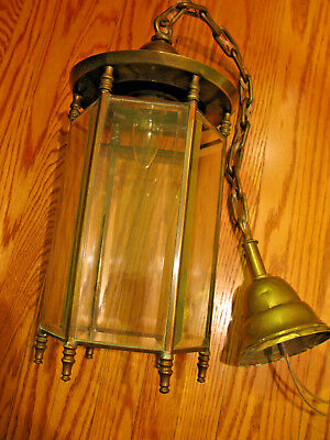 Antique  Ceiling Lantern Light- Brass With Beveled Glass Panels