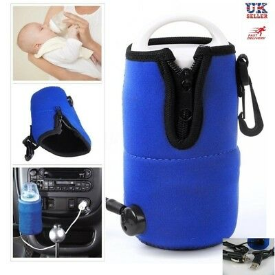UK Portable 12V USB Car Food Water Milk Cup Bottle Warmer Heater Baby Kid Travel