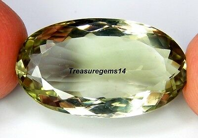 19 Ct Ring Size Natural Green Amethyst Oval Cut  Faceted Cabochon Gemstone B16