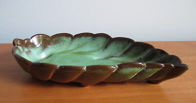 "Frankoma Leaf Bowl Dish 225 Prairie Green 9 1/4"" Signed USA Vintage Pottery"
