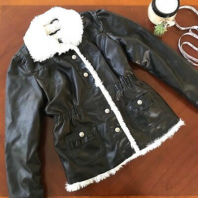Me Jane Girls Shearling Coat size L 14 Faux Leather Dark Brown