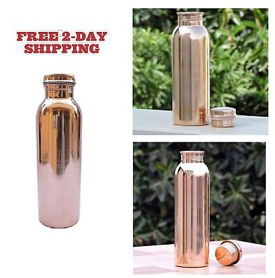 Copper Water Bottle Ayurvedic Health Drinking Vessel Travel Drinks Container Kit