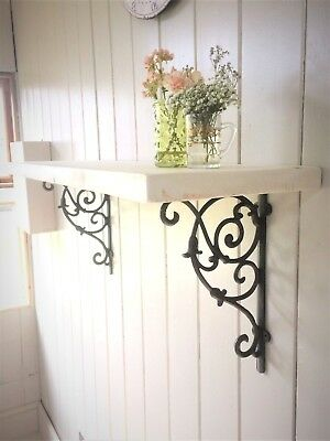 Wooden Shelf with Cast Iron Brackets Vintage Style Shabby Chic White Pine Modern