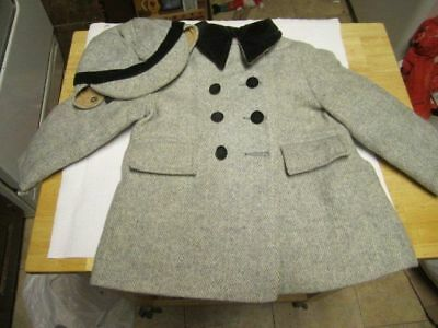 Vintage Child's Fieldstone Coat And Hat Size 18 Months Toddler Boys Wool