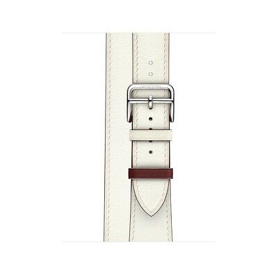Apple Watch Hermes 38mm White Blanc/Rouge H Swift Leather Double Tour Band