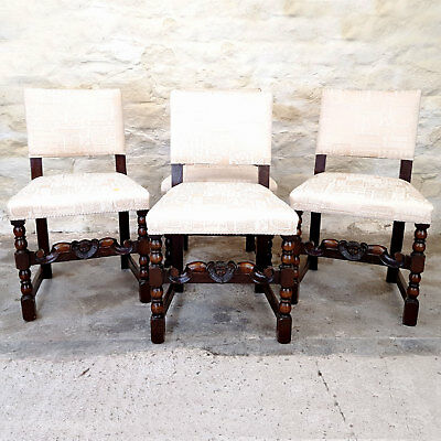 C17th Style Cromwellian Set of 4 Carved Oak Dining Chairs (Antique)