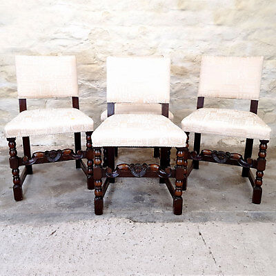 Jacobean C17th Style Set of 4 Cherub Carved Oak Upholstered Dining Chairs