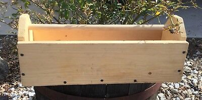 Vintage Rustic Wood Tool Tote Box Garden Caddy Wooden Carrier Primitive Shabby