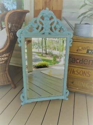 Vintage French Large Carved Details Aqua Beveled Wall Mirror Chic Not Shabby W@W
