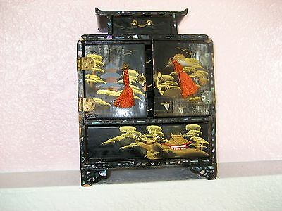 Vintage Oriental Black Laquer With Mother of Pearl Jewelry Box