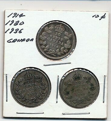 1914, 1920 And 1936 Canada Silver 10 Cents - 3 Coins