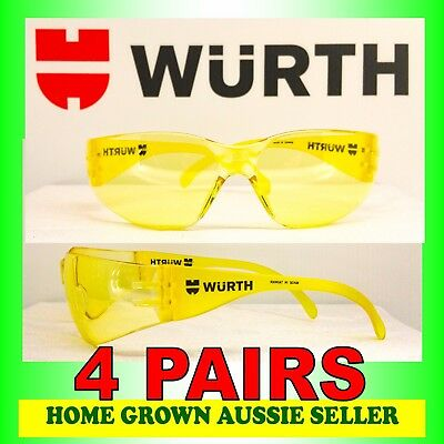 Wurth Safety Glasses  4 Pairs – Amber Tint , Uv Protection, Polycarbonate
