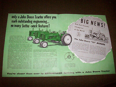 1955 John Deere Model 50 60 70 Tractor Furrow Advertising Insert Brochure
