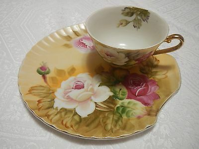 Lefton Hand Painted Snack Set Cup and Plate Vintage