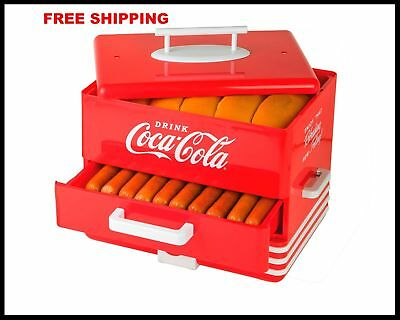Hot Dog Warmer Steamer Vintage Retro Electric Cooker Machine Bun Coca-Cola NEW