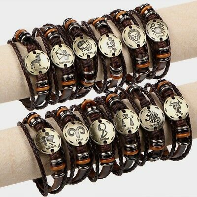 12 Bracelet Zodiac Constellations Leather Adjustable Unisex Alloy Jewelry Bangle