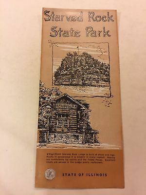 Starved Rock State Park Lodge & Photos Illinois 1940 Travel Brochure And Map