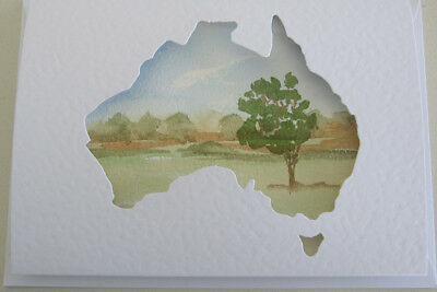 WATERCOLOUR australia BUSH tree PASTEL colours ART card BIRTHDAY farewell TRAVEL