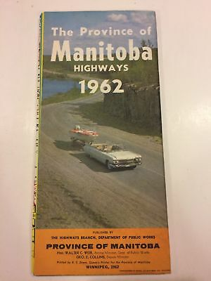 Province Of Manitoba Canada Official Highway Map 1962 Travel Brochure
