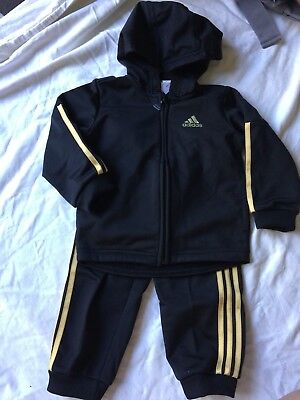 Adidas black and gold ST Shiny FZH tracksuit brand new size 9-12 months