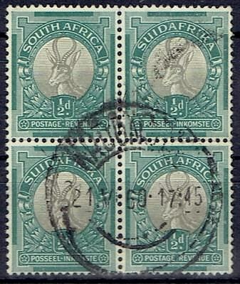 South Africa 1948 Definitive Unhyphenated 1/2d block of 4 fine used