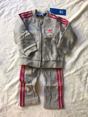 Adidas grey and pink trefoil tracksuit brand new size 9-12 months
