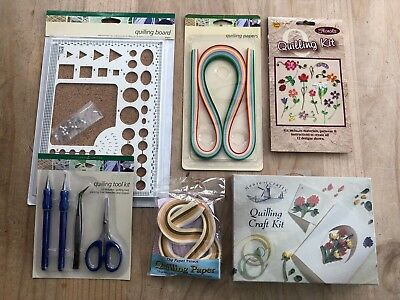 Quilling Kit - Board, Lots Of Papers, Quilling Tools, Tweezers, Starter Kit  New