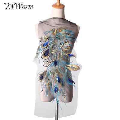 Kiwarm Embroidered Blue Sequins Peacock Feather Applique Patches Sew Trim For Wo