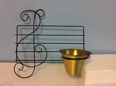 Vintage Coppercraft Guild Brass Planter on Black Clef & Musical Staff Hanging