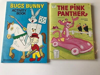 BUGS BUNNY activity book & the PINK PANTHER colouring book - 1977 & 1970 unused