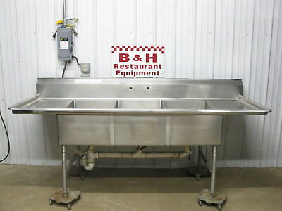 "8' Heavy Duty Stainless Steel 3 Bowl 20"" x 30"" Three Compartment Sink 96"""