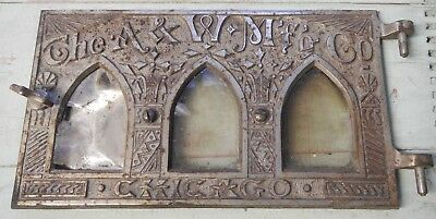 Antique Art Deco ornate metal door A&W Mfg Co Mica Windows Chicago IL Victorian