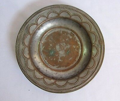 Vintage Old Nickel Plated Unique Engraved Copper Round Islamic plate collectible