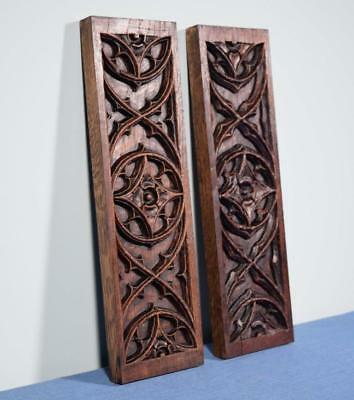 *Pair of French Antique Gothic Revival Trim Panels in Oak Wood Salvage
