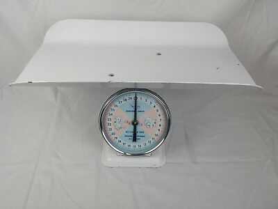 Vintage American SEARS Nursery Scale w Basket Infant Baby Photo Prop 30 Lb. VTG
