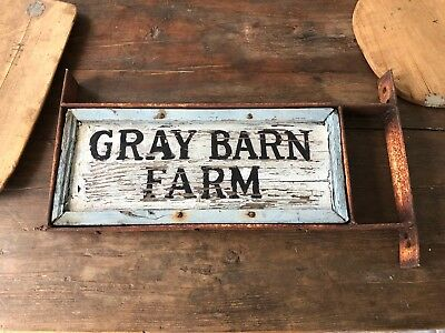 "Antique Primitive Wood ""Gray Barn Farm"" SIGN Trade aafa 26"" x 11"" Double sided"