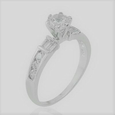 AAA Simulated White Diamond Ring in Rhodium Plated Sterling Silver 4VultL3y