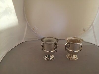Pair Of Silver Plated Urns With Lion Head Handles (Viner's)