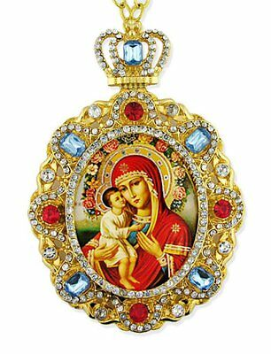 Jeweled Russian Icon Pendant Medal Madonna Child Virgin Mary Christ Jesus 5 Inch