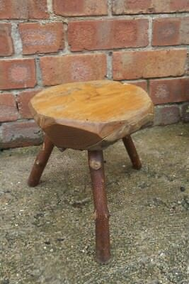 Primitive Milking Stool Three Leg Antique Rustic Furniture Solid Wood Pegs Old