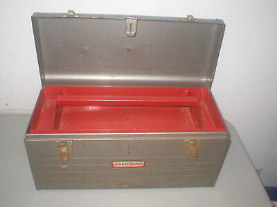 VINTAGE CRAFTSMAN 6512 Gray Metal Tool Box w Tray 20 USA Crown
