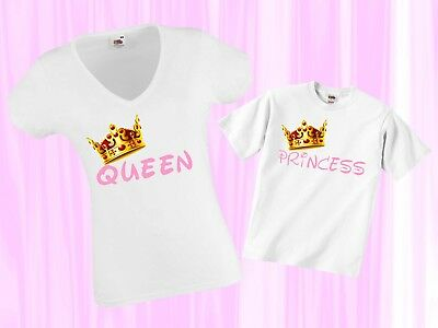 set queen princess (mommy daughter) women tshirt kids shirt toddler lady baby