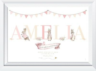 Personalised Peter Rabbit baby child name picture gift art nursery print girl