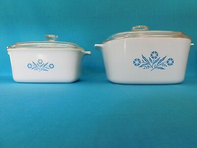 Vintage Corning Ware Casserole Dishes A-3-B & P-4-B With Lids Cornflower Blue