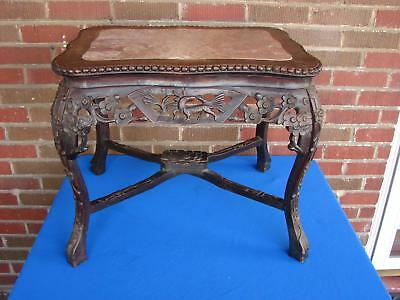 Antique Chinese Carved Wood Marble Top Plant Fern Stand Table With Deer Motif