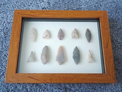 Neolithic Arrowheads in 3D Picture Frame, Authentic Artifacts 4000BC (0450)